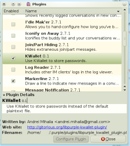 Pidgin Plugins List Screenshot